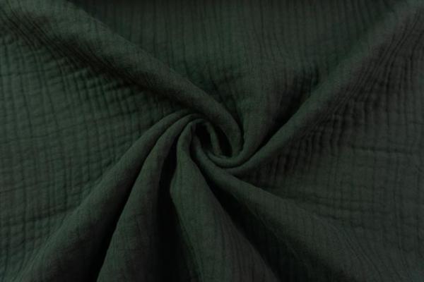 Musselin SCHWER Triple Gauze Uni tannengrün 100% Baumwolle Ökotex 100