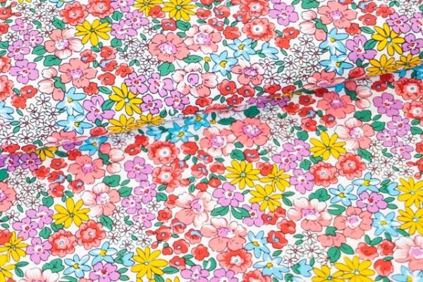 Baumwollwebware Auf der Wiese weiß-rosa-rot Ökotex 100