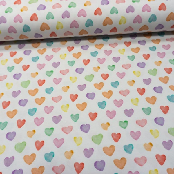 Bio-Baumwolljersey Rainbow Hearts weiß