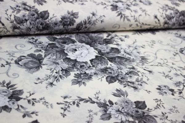 Canvas Blumen natur-grau 100% Baumwolle Ökotex 100