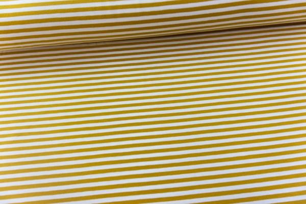 Baumwolljersey Basic STRIPES senf Ökotex 100