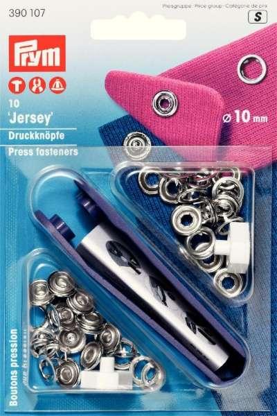 Jersey Druckknöpfe silber-silber 10 mm inkl. Lochwerkzeug