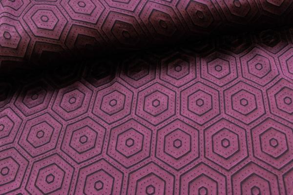 Viskosetwill Polygon bordeaux-schwarz Ökotex 100