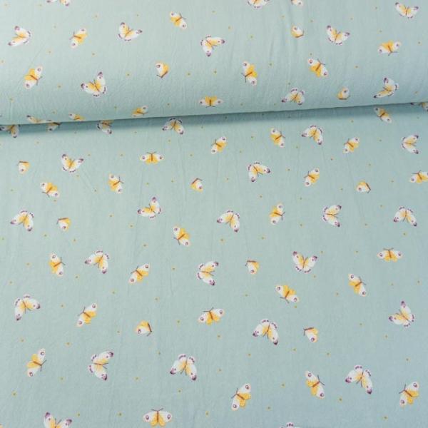 Baumwollwebware Baby Cotton Butterflies dusty mint