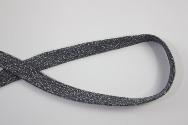 14mm Hoodie Kordel Flachkordel anthra meliert Baumwolle Ökotex 100