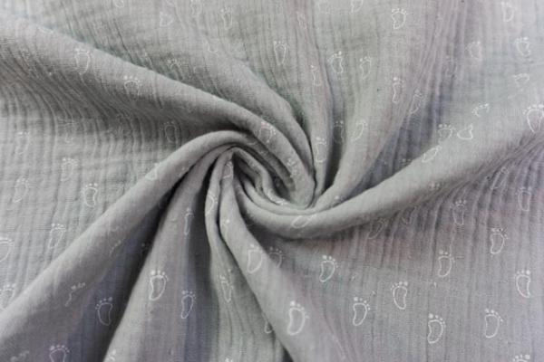 Musselin Double Gauze Kleine Füßchen hellgrau 100% Baumwolle Ökotex 100