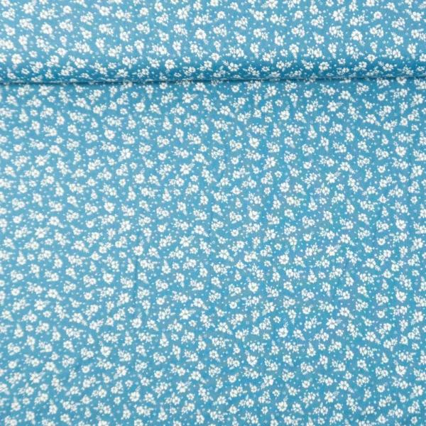 Baumwollwebware kleine Blümchen jeansblau