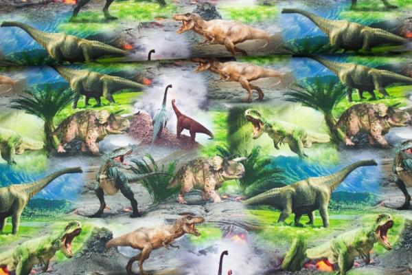 Baumwolljersey Dinosaurier digital Öko Tex 100