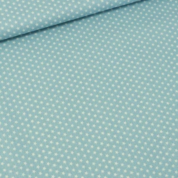 Baumwollwebware Mini Sterne hellblau