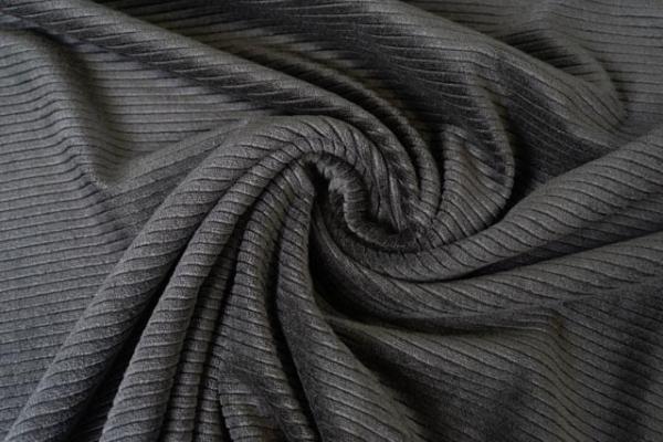 Feincord-Jersey schwarz ÖkoTex 100