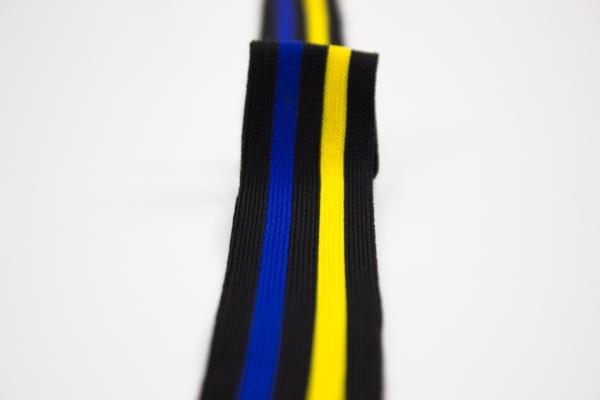 Galonband schwarz-gelb-blau Ökotex 100
