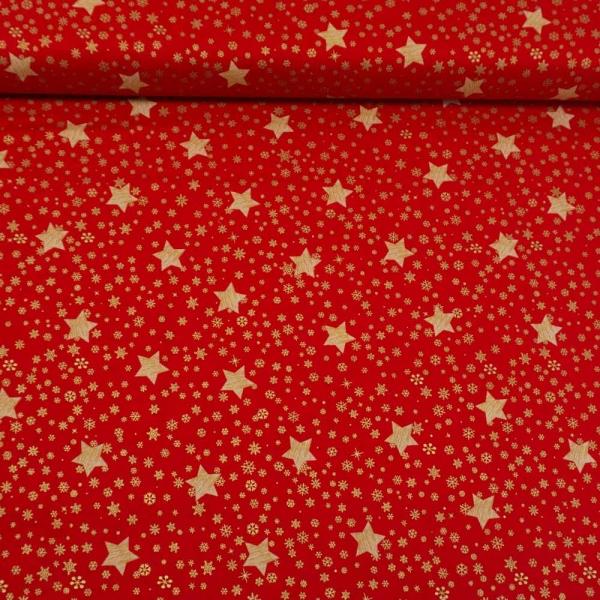 Baumwollwebware Christmas Snowflakes And Stars rot