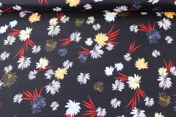 Viskose Blütenzauber schwarz Ökotex 100
