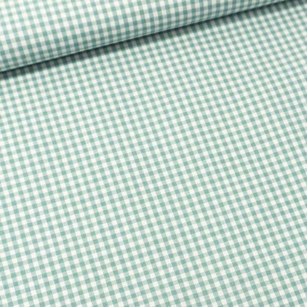 Edle Baumwoll Popeline Karo klein 3mm dusty mint