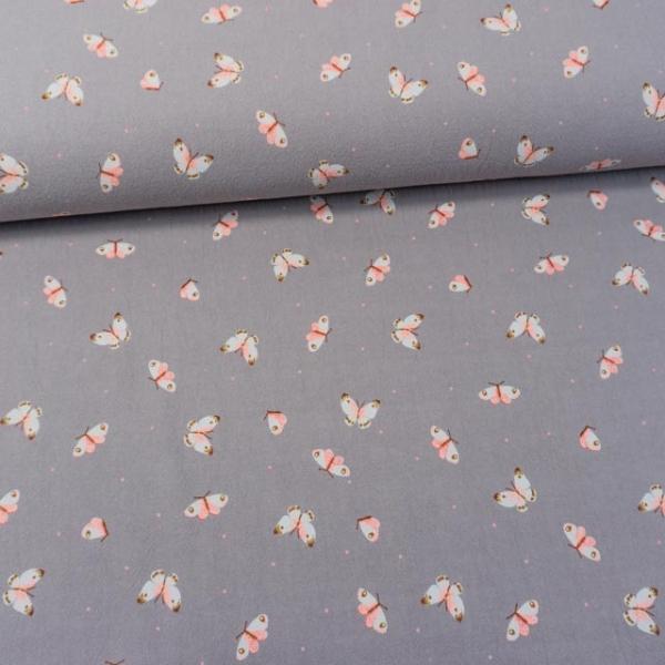 Baumwollwebware Baby Cotton Butterflies grau