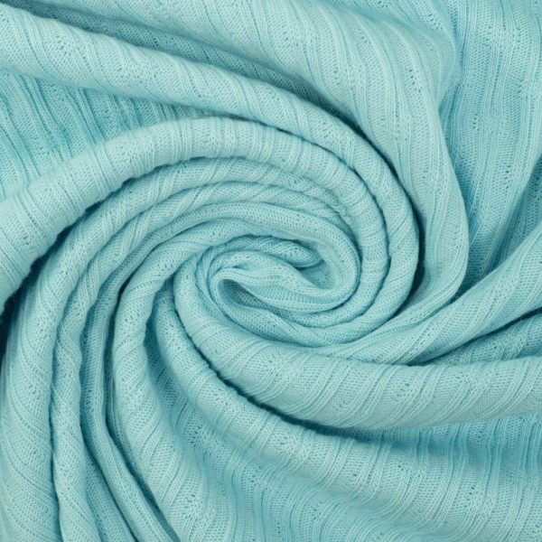 Baumwollstrick Jersey Stripeknit hellblau