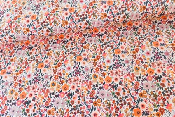 Baumwolljersey DIGITAL Frühlingsblumen hellbeige Ökotex 100
