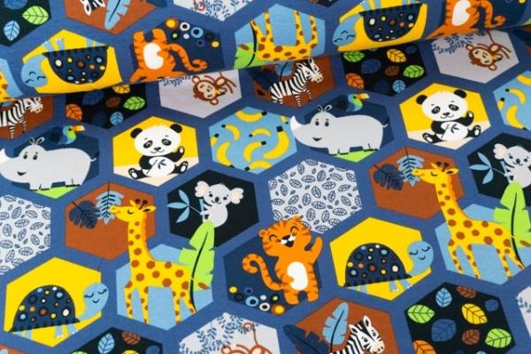 Baumwolljersey Mosaiktierchen jeansblau Ökotex 100