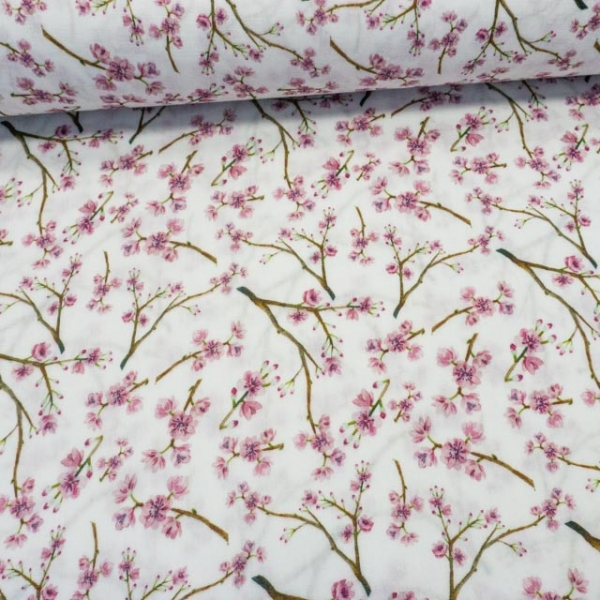 Musselin Double Gauze Kirschblüten weiß