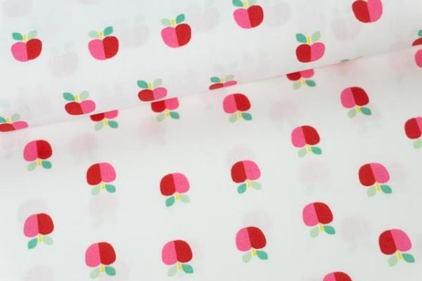 Baumwollwebware Popeline Rainbowäpfel weiß Ökotex 100