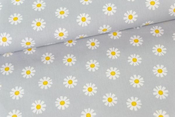 Baumwollwebware Margariten grau Ökotex 100