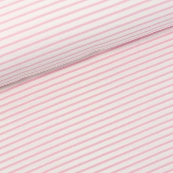 Baumwolljersey Small Stripes ecru-rosa