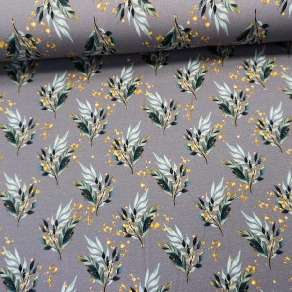 Baumwolljersey Digital Glitzerblätter grau