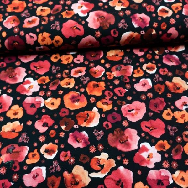 BIO Baumwolljersey Vintage Poppies schwarz
