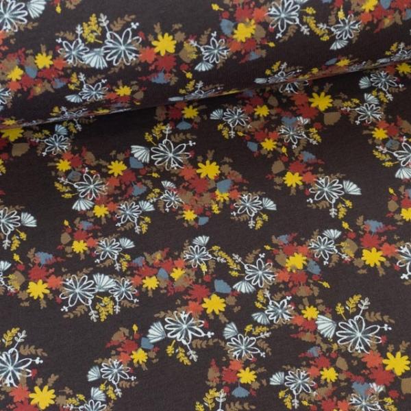 Baumwolljersey Herbstlich braun Ökotex 100