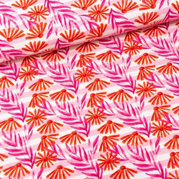 Baumwolljersey Sun Flowers Stripes rosa-weiß