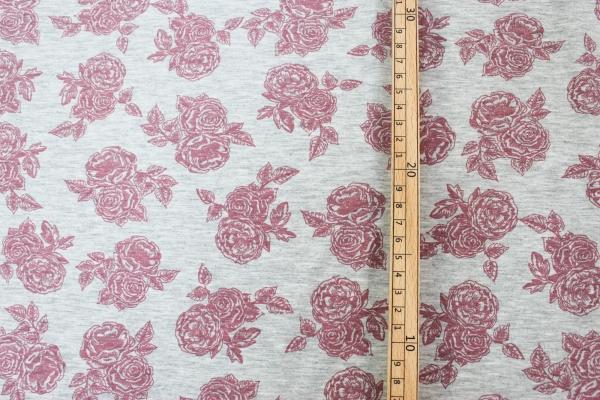 Baumwolljersey Romantic Rose altrosa-grau meliert Öko Tex 100