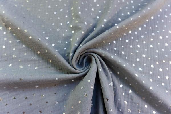 Musselin Double Gauze SILBER Sterne dunkelgrau 100% Baumwolle Ökotex 100