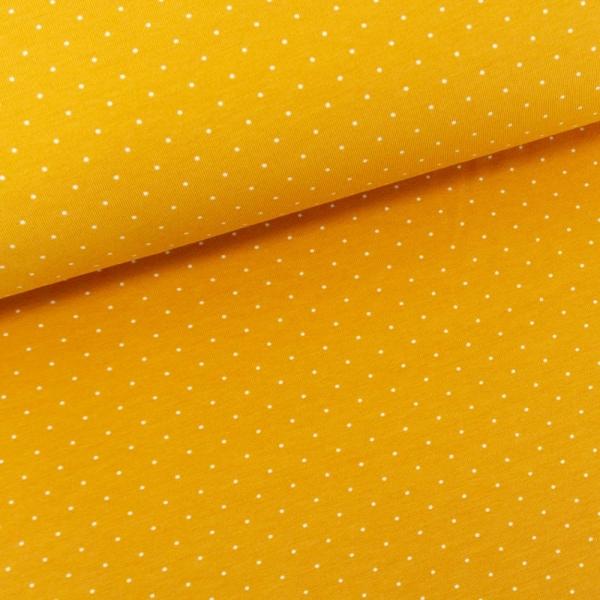 Baumwolljersey Small Dots senfgelb