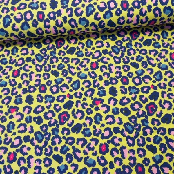 Baumwolljersey Leopard gelb