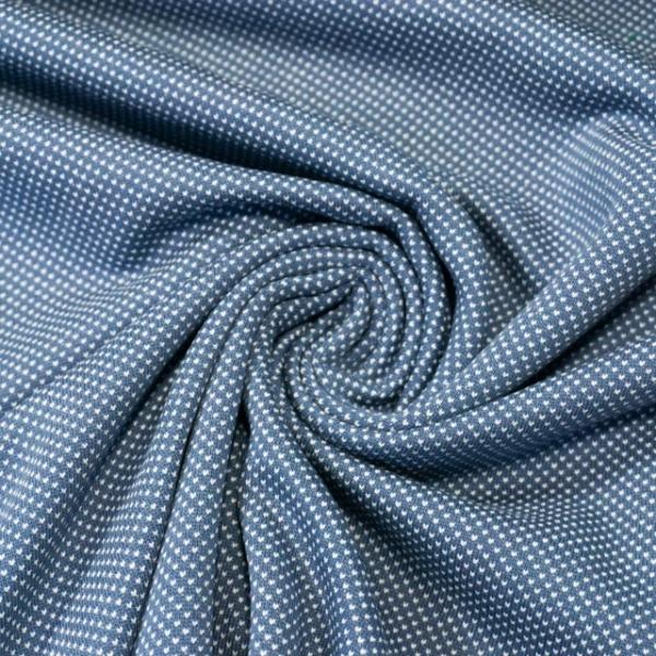 Jacquard-Jersey Fine Knit Dots jeansblau