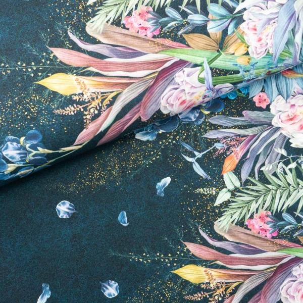 Bio-Baumwolljersey BORDÜRE Melange Fairytale Flowers petrol