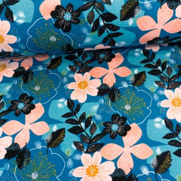 BIO Soft Sweat angeraut Floral jeansblau