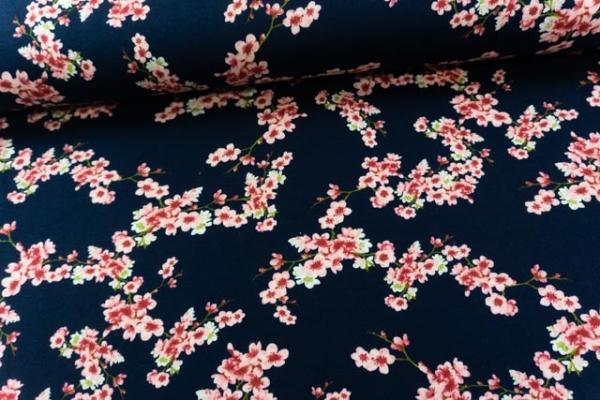 BIO Jersey-Sweat angeraut Cherry Blossom navy SUPERWEICH
