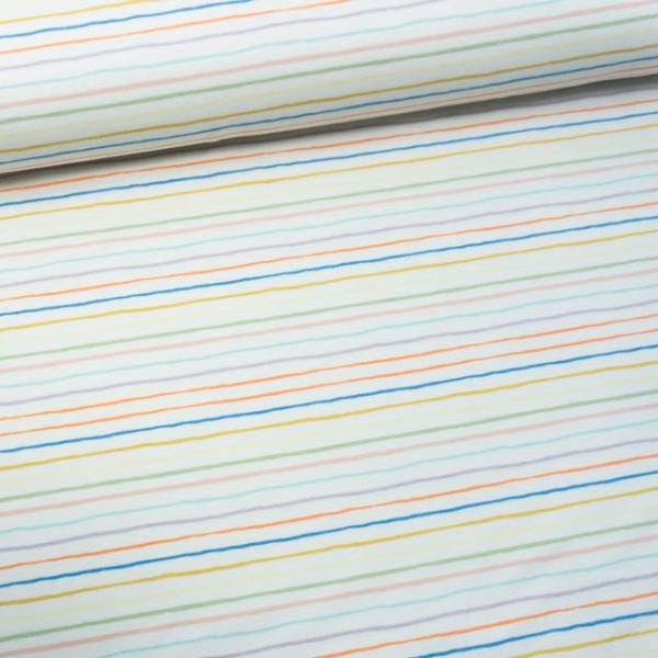 Baumwolljersey Rainbow Stripes ecru