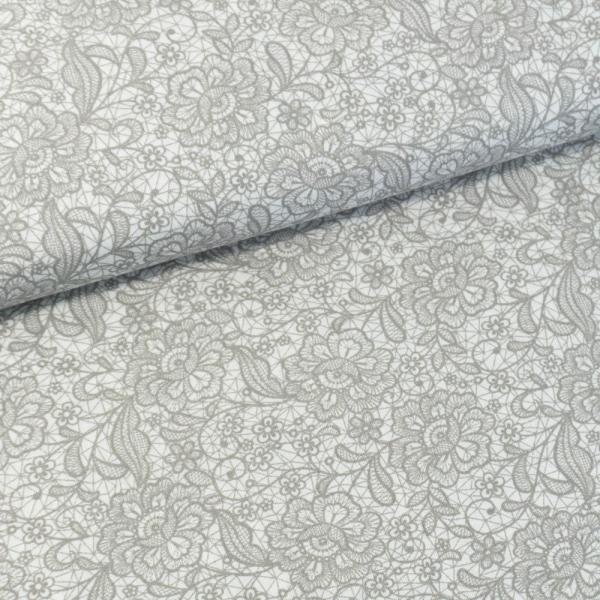 Baumwollwebware Italienische Kollektion Lace hellgrau