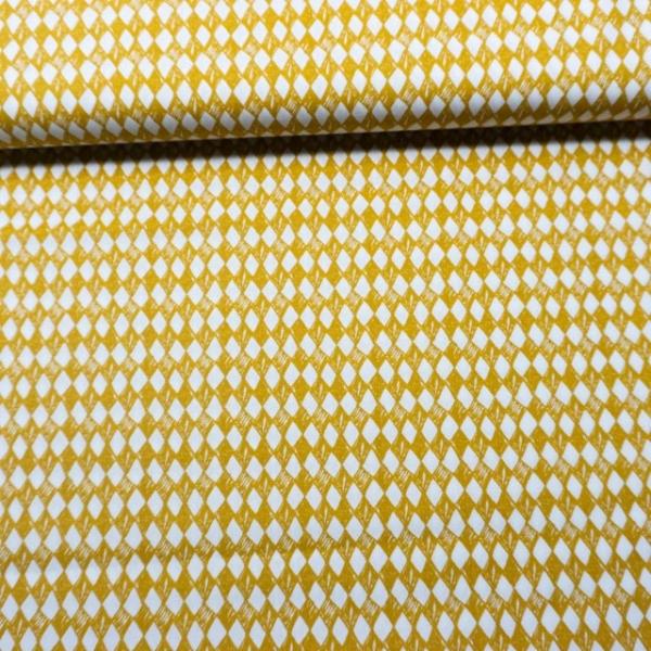 Baumwollwebware Arlequeen weiß-senf