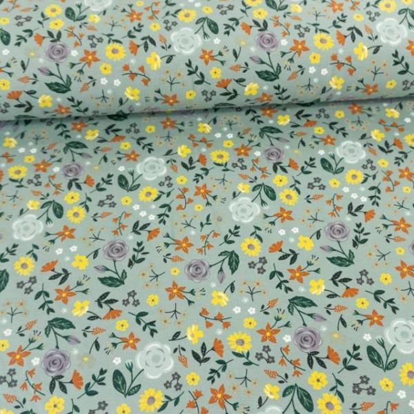 Baumwolljersey Flowers dusty mint
