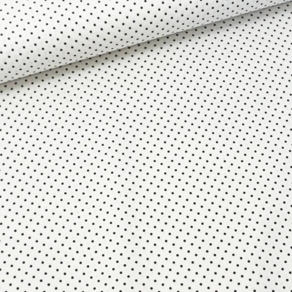 Baumwollwebware Popeline Petit Dots weiß-schwarz