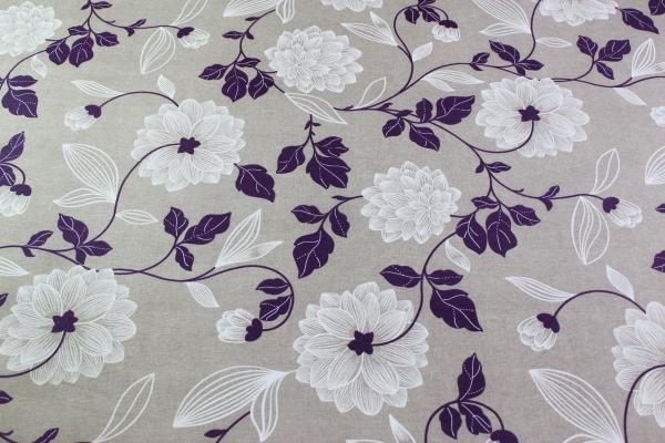 Beschichtete Webware Wachstuch Blumenranke lila-weiß Öko Tex 100
