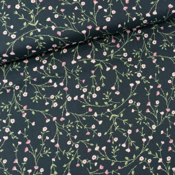 Gütermann Baumwollwebware Timeless Blumenranken jeansblau dunkel