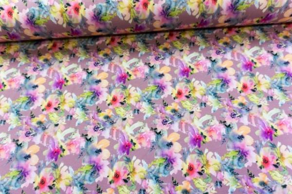 Baumwolljersey Digital Aquarell Flowers altrosa Ökotex 100