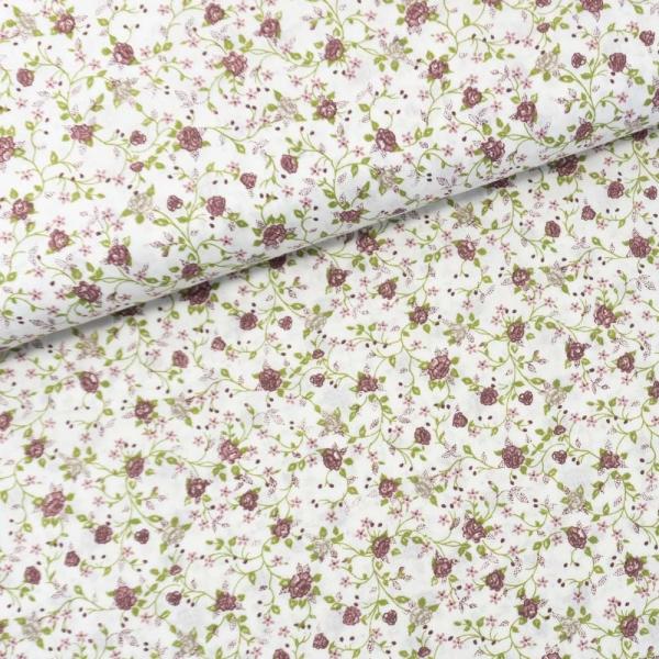 Baumwollwebware Italienische Kollektion Blütenranken beere Ökotex 100