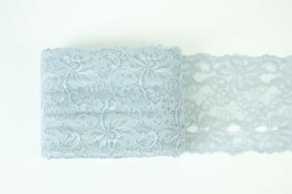 Elastische Spitzenborte Blumen grau 14cm BREIT