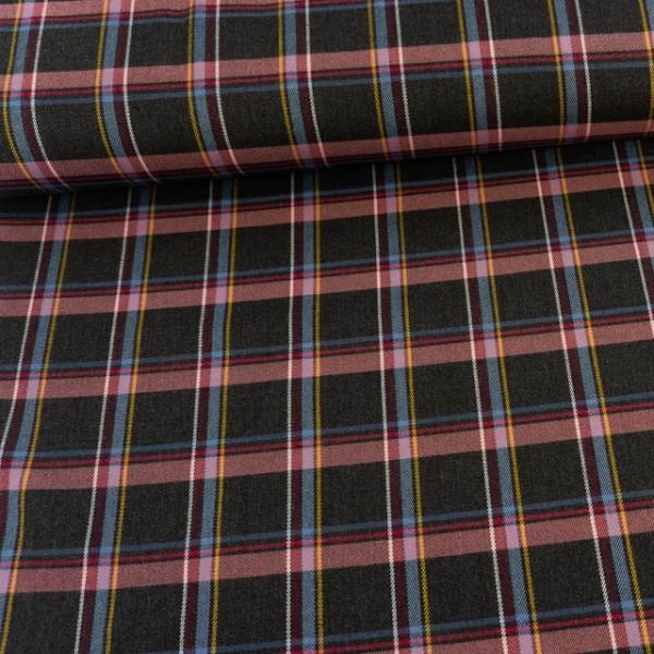 Twill Wool Touch Schottenkaro elastisch anthra-beere Ökotex 100