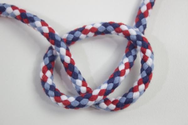 8mm Kordel geflochten Maritim Multicolor rot-weiß-navy-hellblau